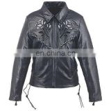 HMB-0292E WOMEN LEATHER JACKETS MOTORBIKE ROSE FASHION COATS