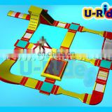 Giant Amusing Red Color Inflatable Floating Water Park Play Equipment With Playground For Sale