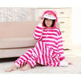 Cheshire Cat Cartoon Flannel Conjoined Polyester Pajamas