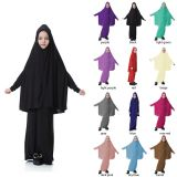 Muslim Islamic Girl's Full Length Two-Piece Prayer Dress Abaya Set for Hajj Umrah