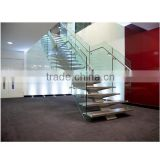 N119 Creater House Wood Glass Stairs, Manufacturer Customied Glass Staircase, Hot Sale Straight Floating Glass Wood Stairs                                                                         Quality Choice