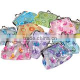 Small PVC clutch coin purse,coin bag,coin pouch with flower printing