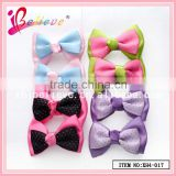 High quality bow hair clip jewelry wholesale hair bows with clips,dot polyester satin ribbon bow