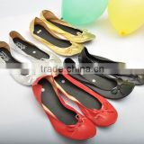 New Arrival Spring Ladies Comfortable Gold Silver Nude Roll Up shoes Casual Leisure Rollable Ballet Flats                                                                         Quality Choice
