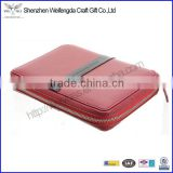 red pu leather notebook holder ring binder case with zip                                                                         Quality Choice