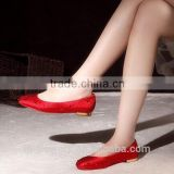 Rhinestone red color round toe girl's flat shoes