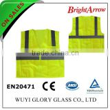 100% polyester Custom High visibility Safety yellow Polis Vest