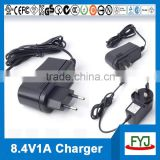li-ion battery charger 8.4v 1a for battery pack 7.4v ( charger with EU US UK SAA plug YJP-084100)