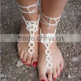 Crochet Barefoot Sandals Beach Wedding Yoga Shoes Foot Color white, black, blue, purple