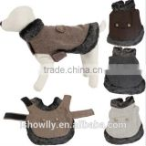 Winter Warm Dog Jacket Coat Fur Collar Pet Clothes Puppy Cat Apparel Easy On Off