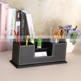 Equisite high-end multifunctional creative fashion business desktop office supplies stationery containing black leather double p
