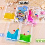 New Arrival Clear Plastic Liquid Phone Case for iPhone 6 4.7 inch with Flowing Cute Fish