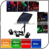 Widely usage waterproof level IP67 18LED 3color light beam ultra-bright solar garden light with light-control system