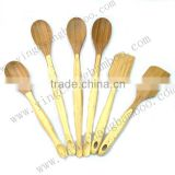 Bamboo wooden funny kitchen dining utensils set