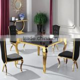 Unique & Luxury Design Gold Plated Dining Table Set Fancy Table Glass Dining Table Hotel Used