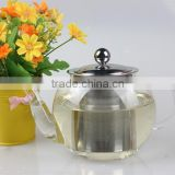 New Arrival Different Sizes Antique Stainless Steel Infuser Tea Set Wholesale Borosilicate Clear Glass Teapot With SS Filter