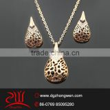 cheapest wholesale lady's fashion jewelry rose gold plated necklace jewelry set                                                                         Quality Choice