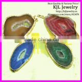 GZKJL-CT0077 Druzy Jewelry Necklace Pendant Gold Bezel Edged Thick Agate Slice Drusy Pendant 32mm-40mm long