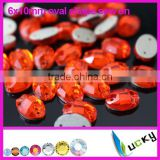 2015 new brand wholesale orange color sew on beads oval egg shaped crystal rhinestones with hole