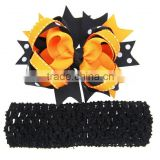sassy Halloween Layered Korker Bow Grosgrain RIbbon hair clips for girls hairgrips with bands