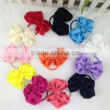 New 3.5inch Solid Satin Hairbow with Same Color Elastic Band for Pony Tail Holder Baby Girls Hairband for Kids in Stock
