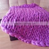 Wholesale high quality super soft warm colorful chunky knit blanket woolen blanket Hand woven air-conditioning blankets