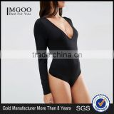 Wholesale Bodysuit With V Neck Long Sleeve And Thong Sexy Photo Women Tight Bodysuit Fitness Clothings