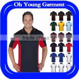 China supplier 100%polyester contrast colors sports gym wear athletic dry fit quick-dring mens running polo shirts
