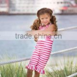 importing baby clothes from China NWT Boutique Bella Cabana Cutie Swimsuit Vintage Style rose red girls stripe cotton jumpsuit