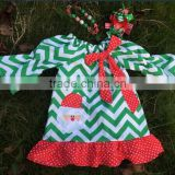 kids Santa Claus ruffle dress girls Christmas chevron dress low cost baby dress girls boutique dress smocked dress ningbo kids