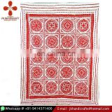 Red Applique Kantha Quilt Patchwork Bedspread Cotton Handmade Throw Ralli Cut Work Kantha Blanket