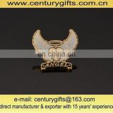 Angel wing metal badges with white glitter and hard enamel, various sizes and shapes are available
