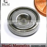 "16 LB Holding Power Neodymium Cup Magnet 0.63"" Magnetic Round Base"