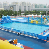 Hotsale 0.9MM PVC Outdoor Giant Above Ground Rectangle Water Park Type Metal Frame Pool