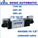 "GOGO Pneumatic solenoid valve 4V430C-15 two coil 1/2"" BSP AC110V 5/3 way electric control valve Plug with red Indicator light"