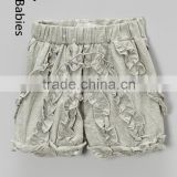Wholesale baby shorts for summer girls custom cotton fabric ruffle shorts