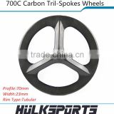 700c Carbon Tri spoke wheels 3 spokes tubular carbon wheelset of 23mm width for road bicycle or fix gear cycling