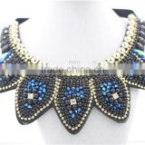 Giant blue necklace fashion crystal jewelry necklace gold chain bead necklace