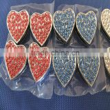 Exquisite Fashion Slide Diy Charm Chrome Plated Alloy Jewelry 18MM Rhinestone Heart Shape Slide Charms