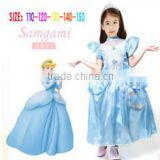New 2015 Blue Cinderella Princess Dress Kids Girl Movie cosplay costume fancy dress