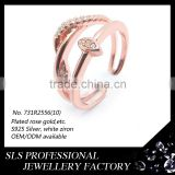 Fashion rings adjustable rose gold finger ring for womens wholelsale 925 silver ring in guangzhou