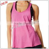 2016 New stylish wholesale gym wear women fitness tank top custom dry fit plain loose fit stringer tank top yoga tank tops