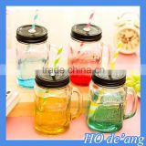 HOGIFT Wholesale 16oz mason jar with handle straw and metal lid /Clear Mason Jar Beverage Cups