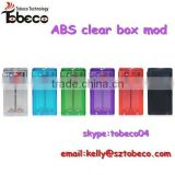 Tobeco clear/blue/green/purple/red/black ABS clear box mod colorful ABS box mod with short circuit and hole protect box mod