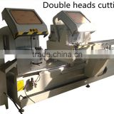 Double heads mitre saw cutting machine with high helical pitch ball screw-lead motion, with high accurate driving