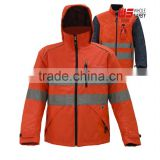 two-in-one High-Vis Waterproof and breathable hoodie parka with padding coat , winter jacket with coat
