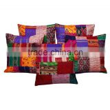 Patchwork Kantha Cushion Cover Handmade Patchwork Sofa Cushion Cover