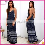 Navy Blue Paisley Print Adjustable Spaghetti Straps Sexy 2016 summer dress dress summer maxi dresses