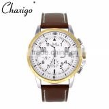 3 eyes OEM custom brand fashion watch alloy leather band watches for men chronograph watch