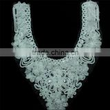 Wholesale Factory Machine Embroidered Chiffon Fabric Sequin Fabric Lace Collar